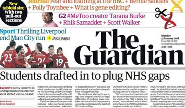 The Guardian inicia su nueva era en formato tabloide