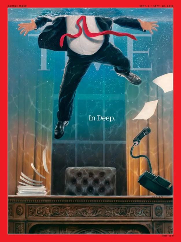 """Trump se """"ahoga"""" en la nueva y certera portada de la revista Time"""