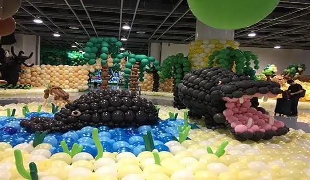 Record del mundo a la mayor decoración con globos jamas realizada. Xiamen (China)