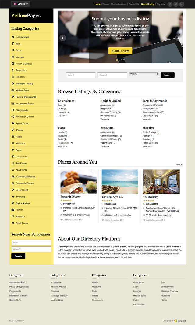 Yellow Page Directory Theme for WordPress free download