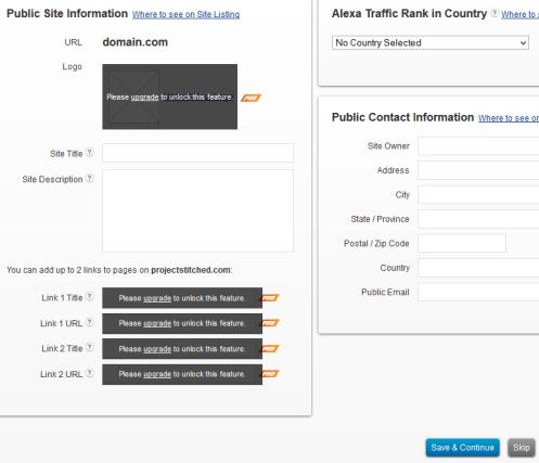 Update Site Information on Alexa
