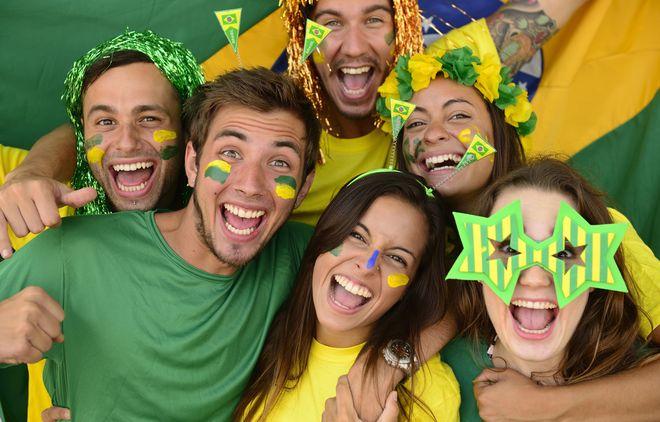 Group sport soccer fans celebrating victory.