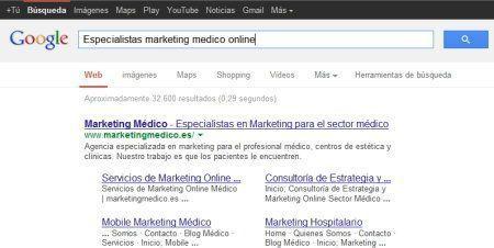 Posicionamiento de páginas web médicas