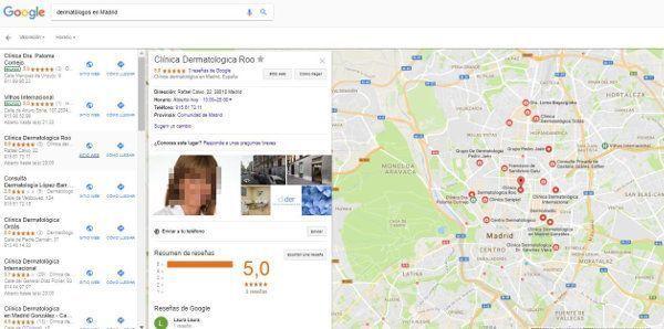 Resultado Google my business para medicos