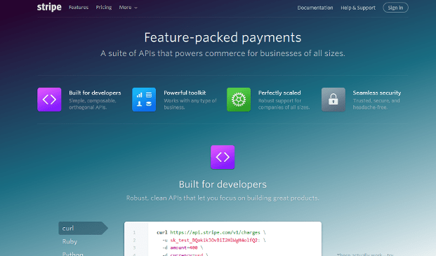 2 Stripe features page