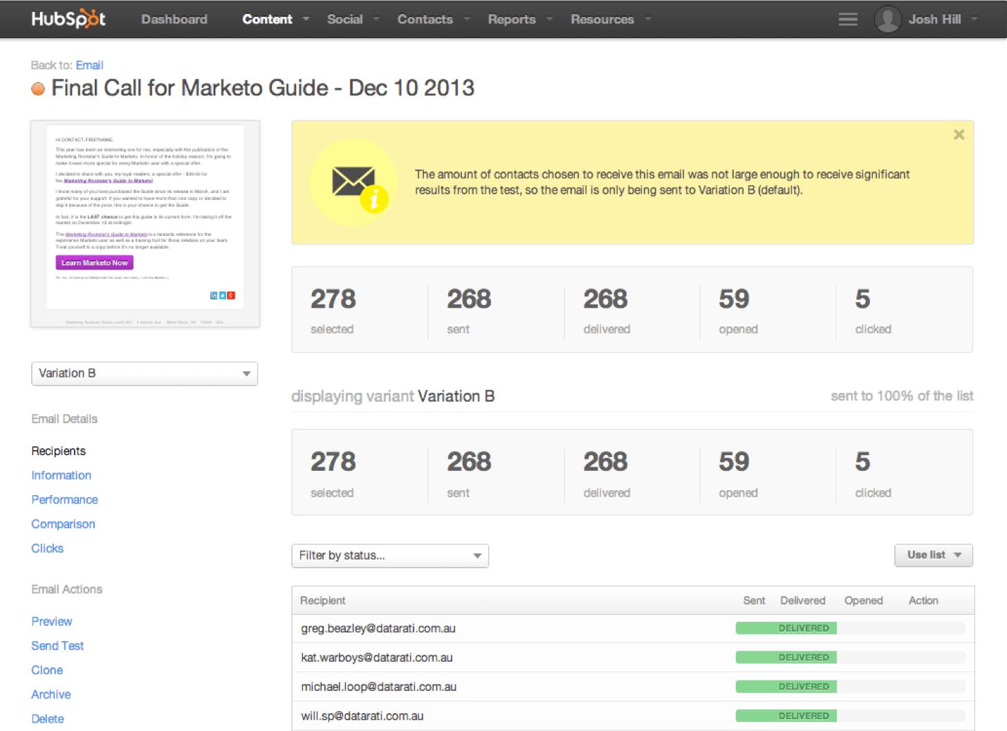 Hubspot reviewed by a marketo user marketing rockstar guides hubspot email test report xflitez Gallery