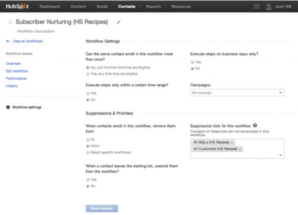 HubSpot Workflow Settings Dialog