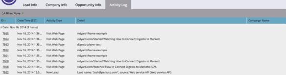 Marketo Lead Log