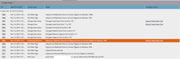 Marketo Lead Activity Log 2