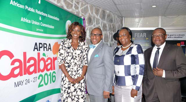 From Left: Kate Henshaw, Ambassador for African Public Relations Association (APRA), Yomi Badejo-Okusanya, Secretary General, African Public Relations Association (APRA), Chief Mrs. Obo Edet, State Chairman NIPR and Mr John Ehiguese, President, PRCAN, at the Identity Unveiling of APRA Calabar 2016 Conference in Lagos.