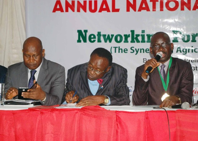 L-R: NIPR Council Member, Maj. General Chris Olukolade; Deputy Registrar, NIPR, Abuja Office, Ben Ahiante, and President and Chairman of Council, NIPR, Dr Rotimi Oladele during the 2016 Annual General Meeting of the Nigerian Institute of Public Relations in Ibadan recently.