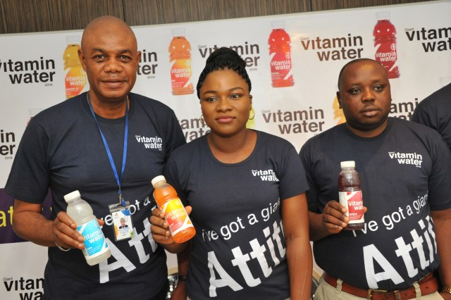 L – R: Mr. Eke Leonard, Regional Sales Manager South-South/ East, Mrs. Bose Ogunyemi, Marketing Manager and Mr. Emmanuel Akpah, Regional Sales Manager Lagos/South-West, all of Giant Beverages Limited at the event