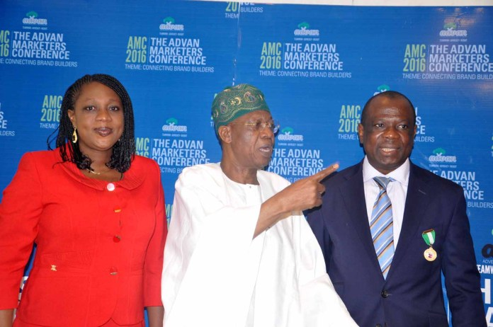 From left: Mrs Ediri Ose-Ediale, Executive Secretary ADVAN, Alhaji Lai Mohammed, Hon Minister of Information and Culture, Mr David Okeme, President Advertisers Association Of Nigeria (ADVAN) at the 2016 Advertisers Association of Nigeria (ADVAN) Marketers Conference with the theme: Connecting Brand Builders held at Sheraton hotel Ikeja, Lagos.