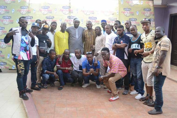 A group photograph of the contestants who survived the preliminary screening at the Goldberg Fuji t'o Bam audition held at Egbeda, Lagos on Wednesday
