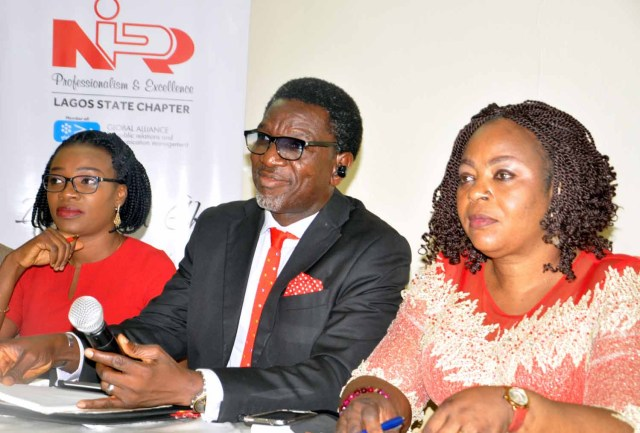 L-R: Thelma Okoh, General Secretary, Olusegun Mcmedal, Chairman NIPR Lagos State Chapter, Mrs Confort Nwankwo,Vice Chairman during the Inaugural Press Briefing of Nigeria institute of Public Relation (NIPR)Lagos State Chapter New EXCO in Lagos.