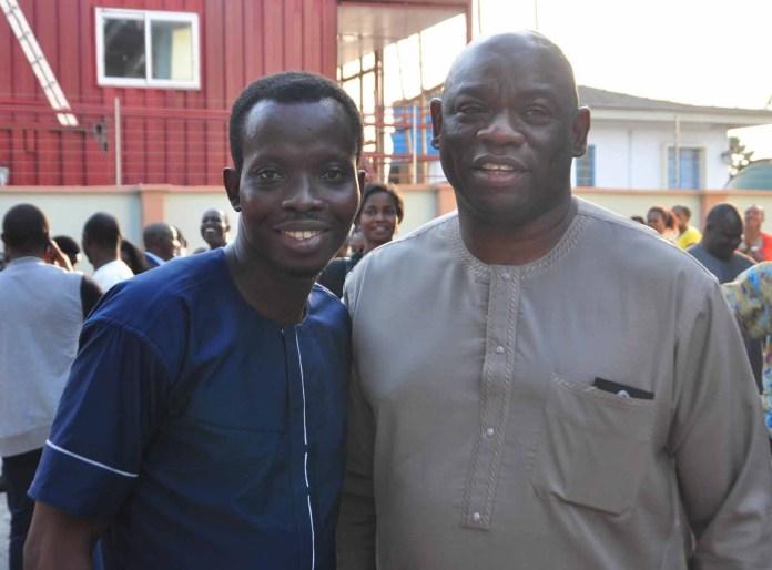 Kola Abiola (right), Chairman, Noah's Ark Advertising Limited with Ayobami Lukman Ishau, Publisher, Marketingspace.