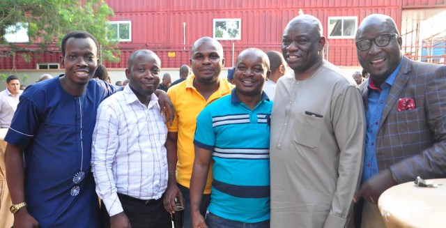Kola Abiola (second right), Chairman, Noah's Ark Advertising Limited, Ayobami Lukman Ishau, Publisher, Marketingspace (Left), and other Brand Journalists at the event.