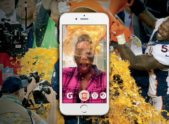 A Snapchat user using augmented reality to engage with the Gatorade Super Bowl lens campaign.