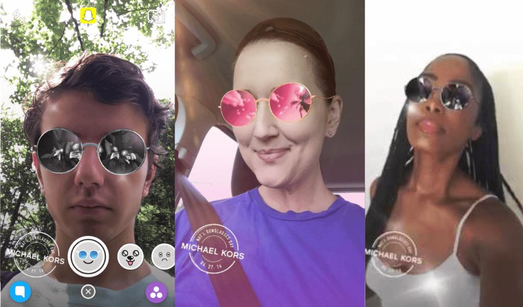 Snapchat users virtually try on Michael Kors' Kendal II Sunglasses.