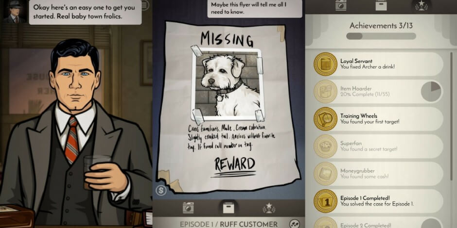 Transmedia storytelling links the episode & mobile story in Archer P.I