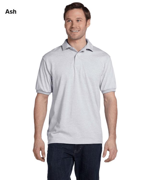 Hanes Adult 5.2 oz., 50/50 EcoSmart Jersey Knit Polo Shirt White