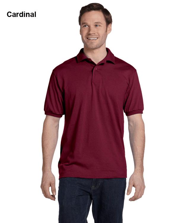 Hanes Adult 5.2 oz., 50/50 EcoSmart Jersey Knit Polo Shirt Cardinal