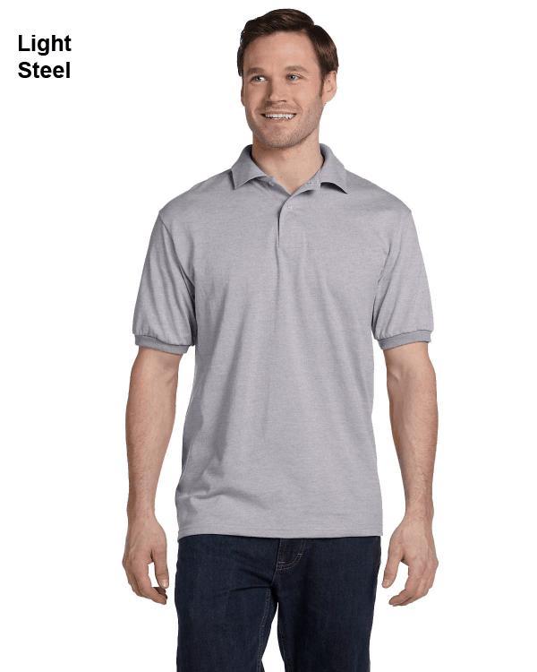 Hanes Adult 5.2 oz., 50/50 EcoSmart Jersey Knit Polo Shirt Light Steel