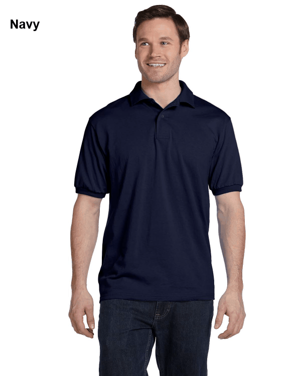 Hanes Adult 5.2 oz., 50/50 EcoSmart Jersey Knit Polo Shirt Navy