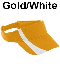 Augusta Drop Ship Adult Adjustable Wicking Mesh Two-Color Visor Gold/White