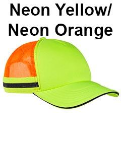 Big Accessories Safety Trucker Cap Neon Yellow/Neon Orange
