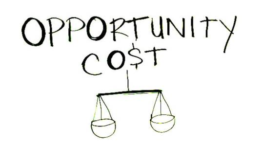 Opportunity cost text with a balance