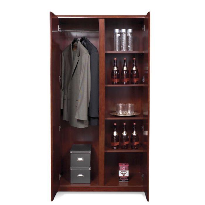 wardrobe cabinet w 4 shelves dark cherry wood