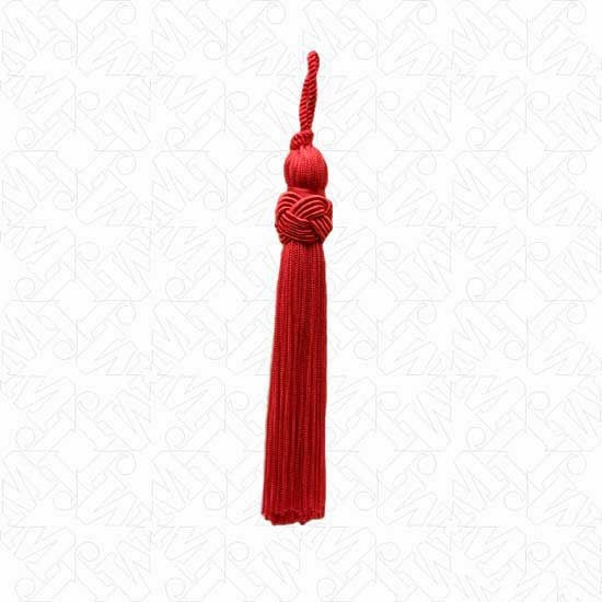 """2.75"""" BRAIDED BAND IMPORTED TASSEL-All-RED"""