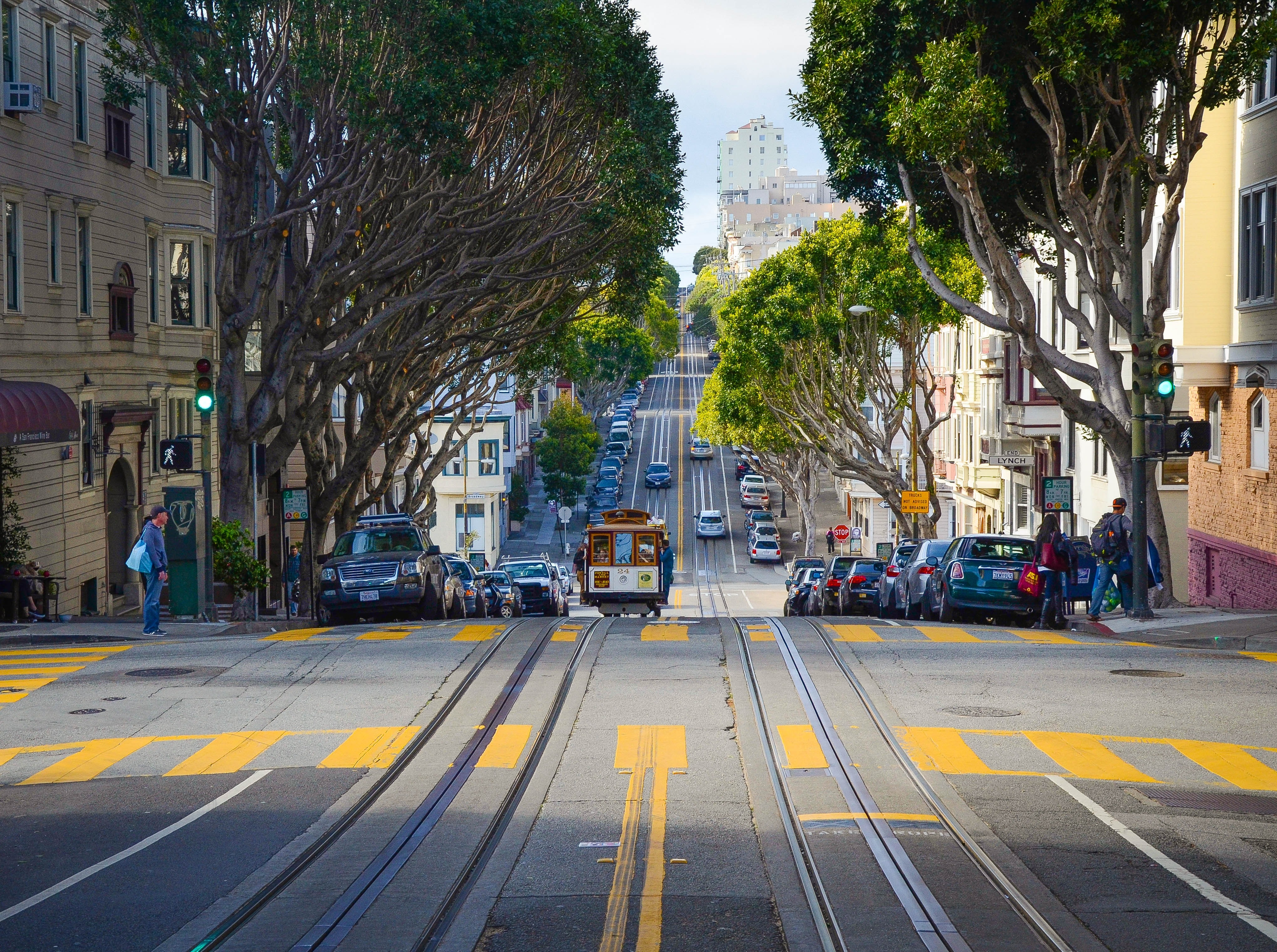A well designed street in San Francisco, depicting a mixture of uses and modalities.