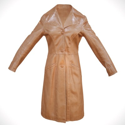Long Brown Leather Coat 3D Model