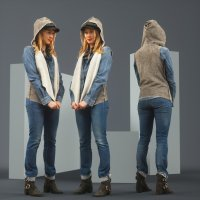 Model in Jeans Outfit and Hoodie