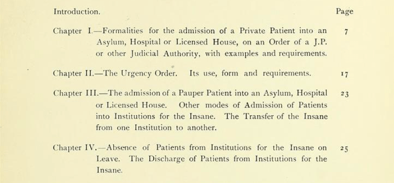 """Detail of the chapter index from """"Lunacy Practice: A Practical Guide for the Certification and Detention of Persons of Unsound Mind"""" by William H. Gattie - Wellcome Library"""
