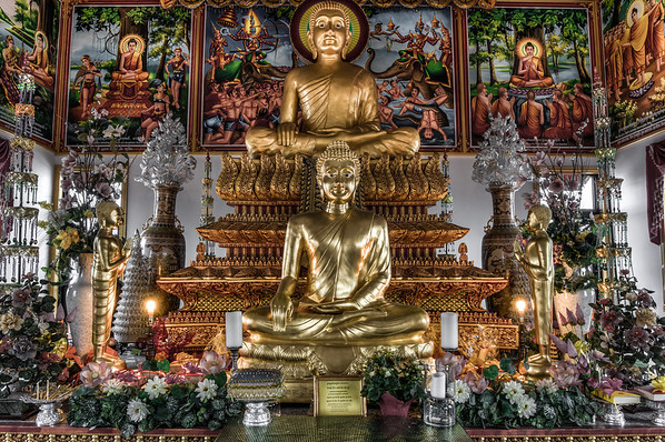 Desaturated photo, photomatix processing, buddhist temple