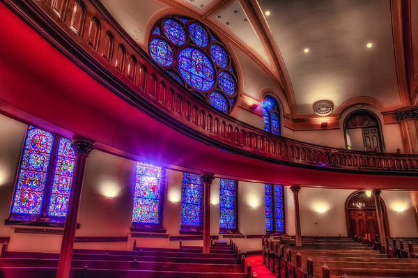 Westminster Presbyterian Church HDR, Minneapolis, Sanctuary, Stained Glass HDR, Sunlight Stained Glass