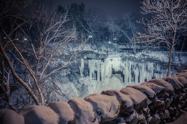 Frozen Minnehaha Falls, Ice Waterfall, Frozen Waterfall, HDR Frozen Waterfall