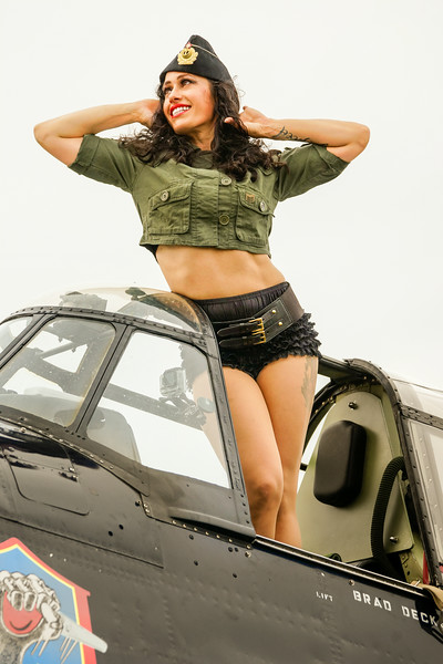 Air Expo 2014 Pin Up Shoot, Pinup Model, Vintage Planes and Girls, TBM Avenger Girl