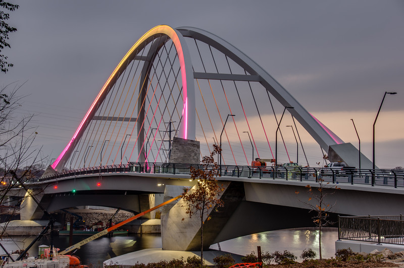 Lowry Avenue Bridge, New Bridge, Red Light Bridge, Minneapolis, Minnesota, HDR, Red LED Bridge