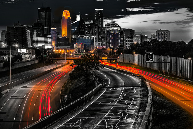 Minneapolis Skyline, Sin City Look, Minneapolis Cityscape, Interstate 35W, Light Trails