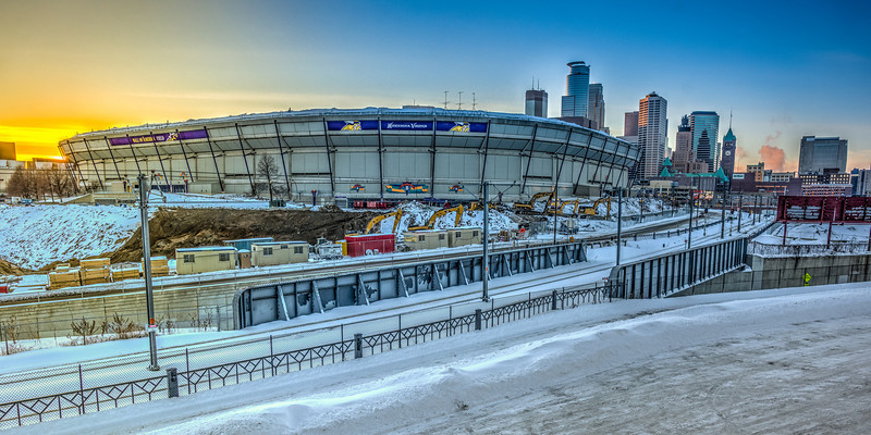 Metrodome deflated, Hubert H. Humphrey metrodome demolition, Minneapolis and metrodome photograph, metrodome hdr photograph