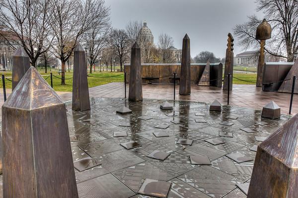 Spiral of Justice, Roy Wilkins, Minnesota State Capitol Memorials, St. Paul, Saint Paul, Rain