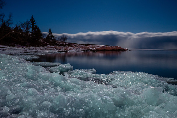 Moonlight ice, lake superior, winter, icescape, long exposure