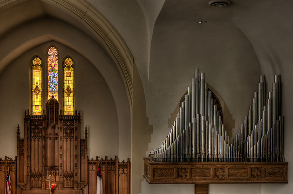 Organ Pipes, Church, First Lutheran Church, Stained Glass, Red Wing, HDR church photography, HDR altar, Minnesota