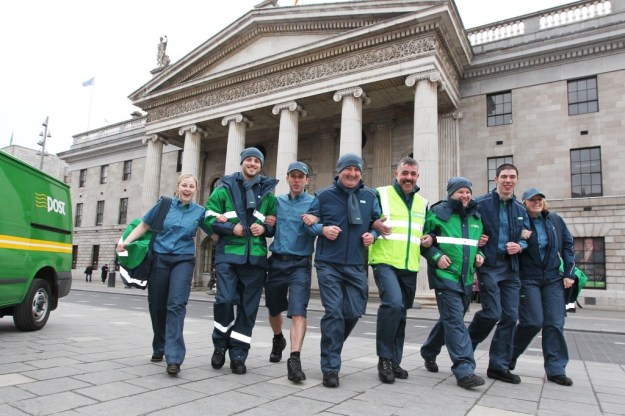Irish postal workers model new uniforms in front of the GPO in 2011.