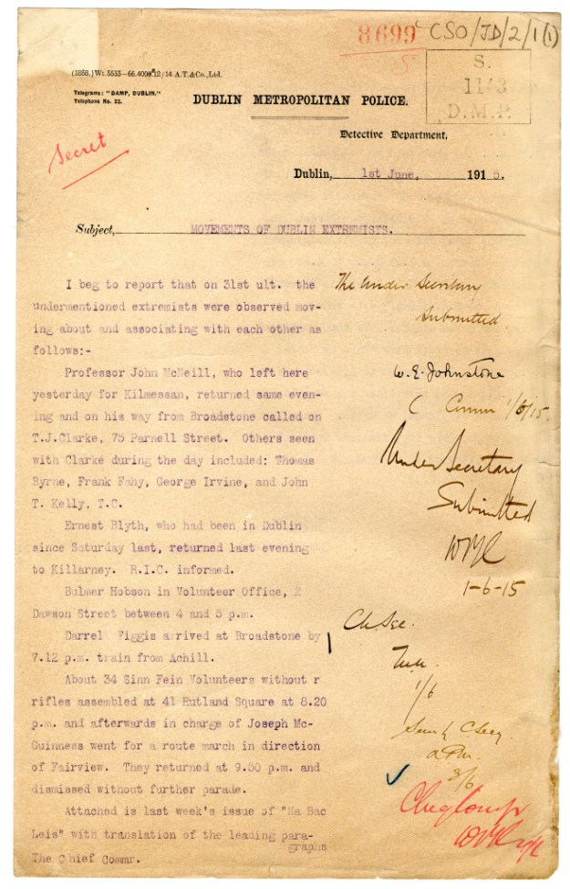 "Page from 1915 Dublin detective's report on ""extremists."" From Irish National Archives."