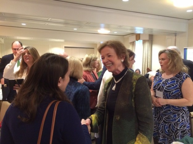 Mary Robinson greets guests at the Nollaig na mBan event in Washington, D.C.